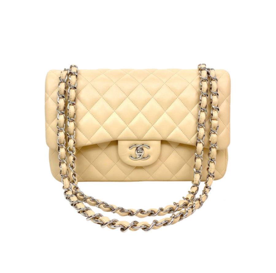 Chanel Classic Jumbo Flap in Beige with silver hardware