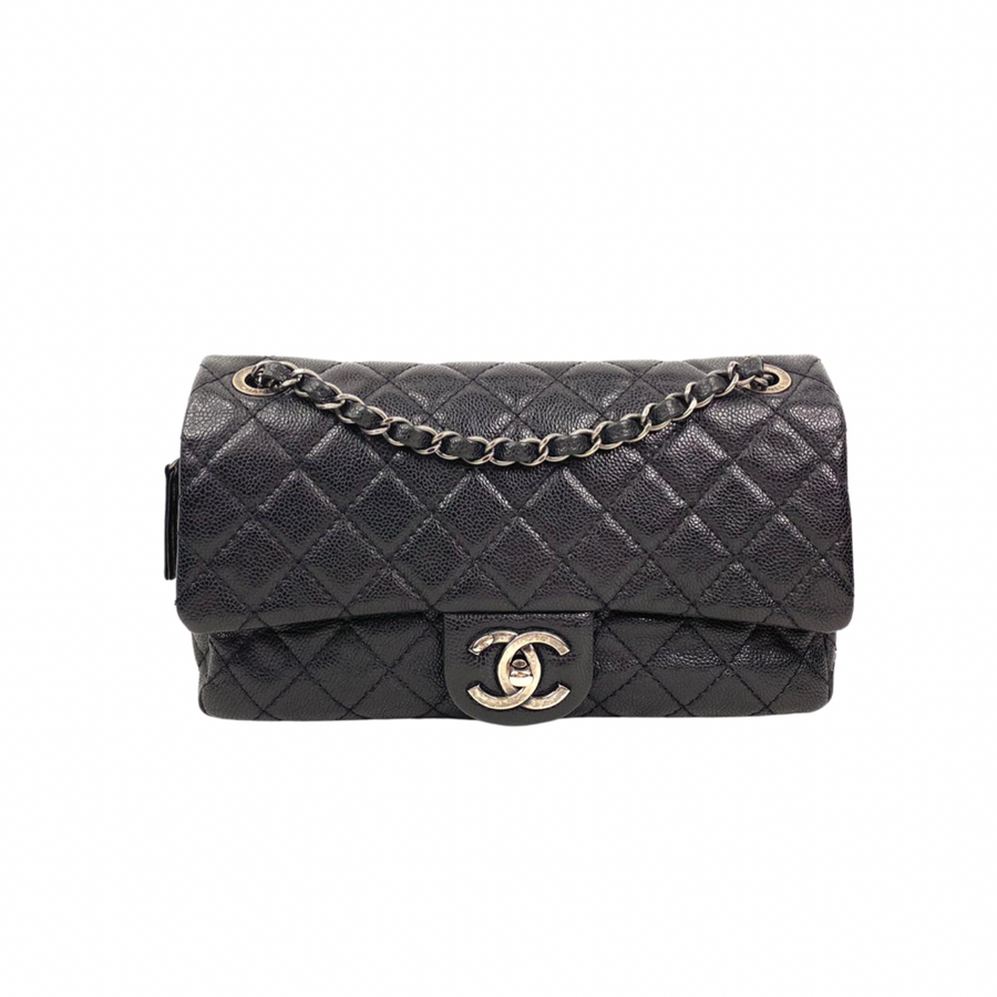 Chanel Easy Flap Handbag in Black with silver hardware