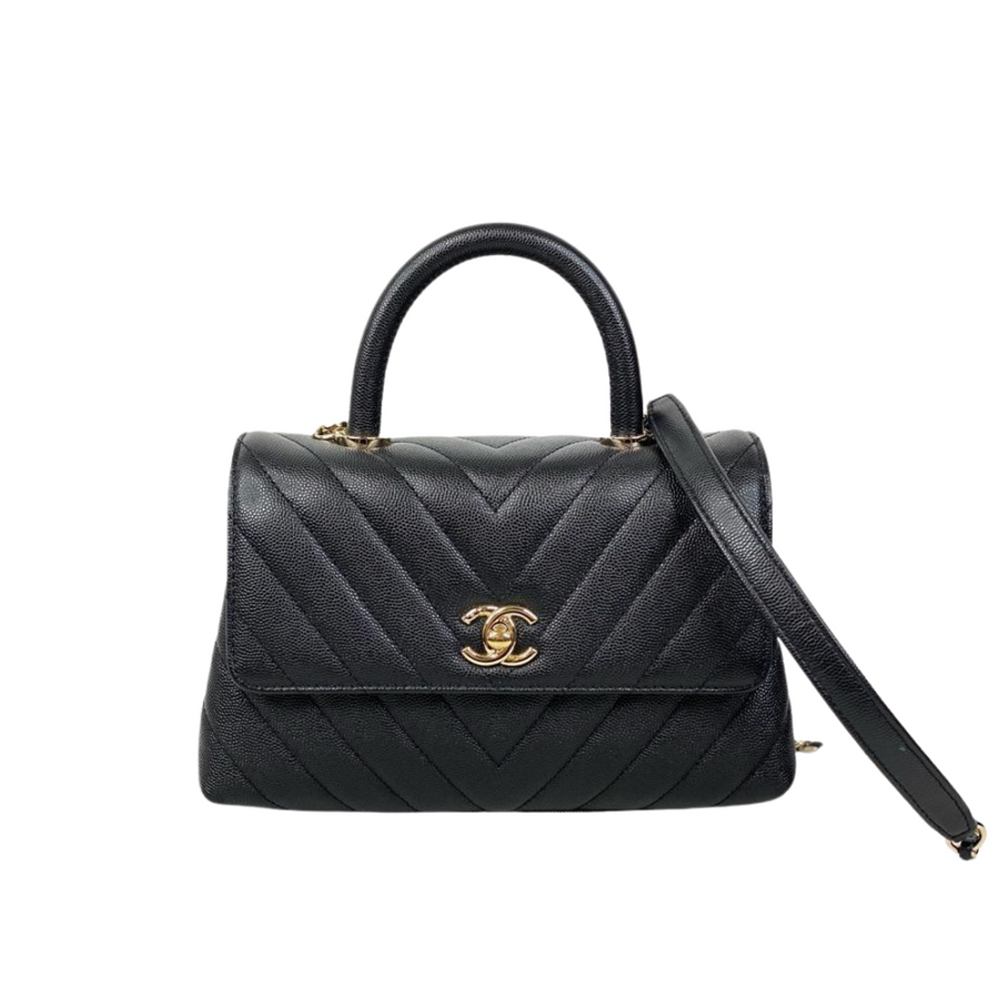 Chanel Chevron Cocohandle in Black