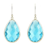 Single Drop Earring Blue Topaz Sterling Silver