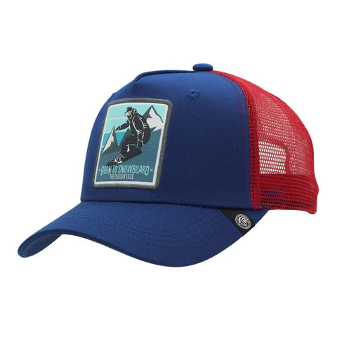 Born to Snowboard Blue and Red Cap
