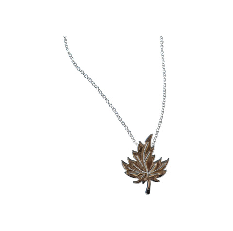 Sterling Silver Delicate Maple Leaf Necklace