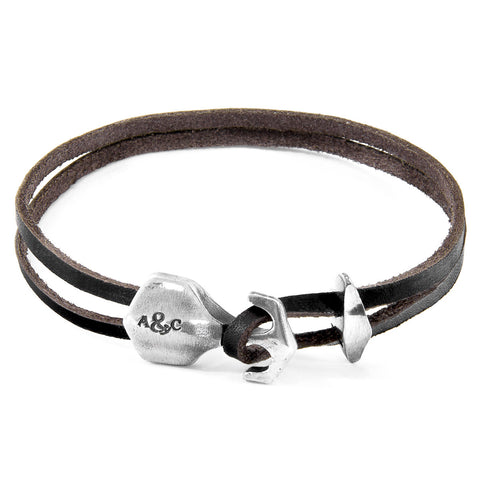 Dark Brown Delta Anchor Silver & Leather Bracelet