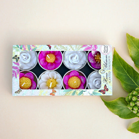 Assorted Glitter Flower Scented Tealights
