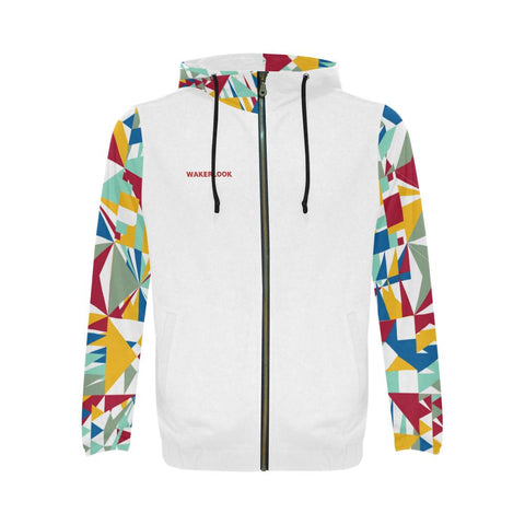 Wakerlook Geometric Star Print Full Zip Hoodie