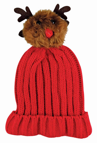 Ladies Christmas Beanie Hat with Rudolf Pom Pom