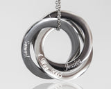 Personalized Rings Name Necklace, Custom Steel