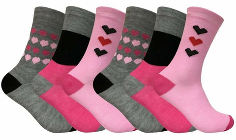 6 Pairs Ladies Patterned Dress Socks