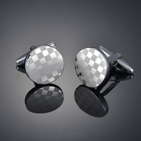 Round Checkered Cufflinks