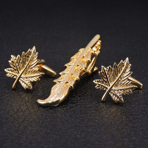 Gents Leaf Cufflinks and Tie Bar Set
