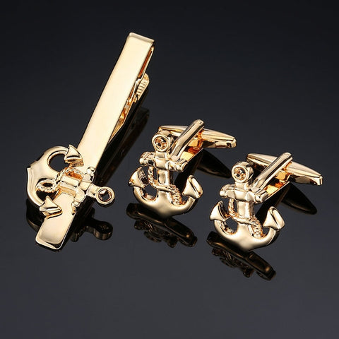 Gents Anchor Cufflinks and Tie Bar Set