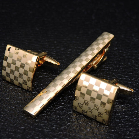 Gents Checkered Cufflinks and Tie Bar Set