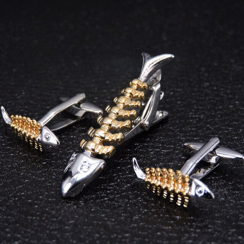 Gents Fishy Cufflinks and Tie Bar Set