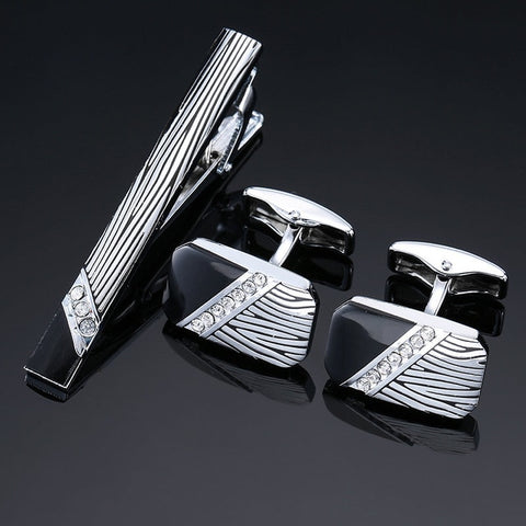 Gents Cufflinks and Tie Bar Set