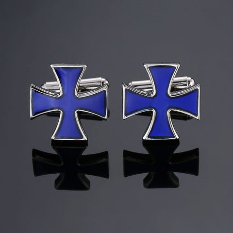 Blue Templar Cross Cufflinks