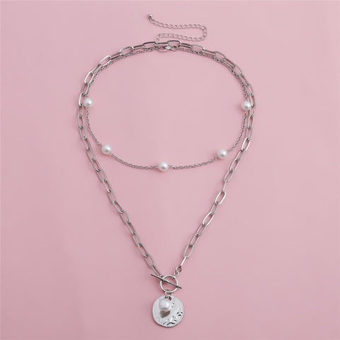 Gothic Baroque Pearl Coin Pendant Necklace and Bracelet