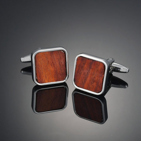 Square Metal Wooden Inset Cufflinks