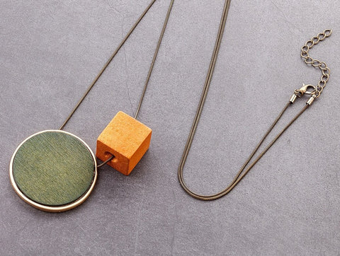Coloured Wooden Geometric Necklace