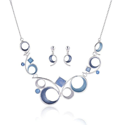 Enamel Geometric Necklace and Earring Set