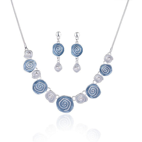 Classic Enamel Rose Flower Necklace and Earrings Set