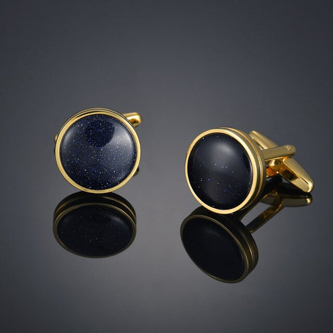 Gents Black Round Cufflinks