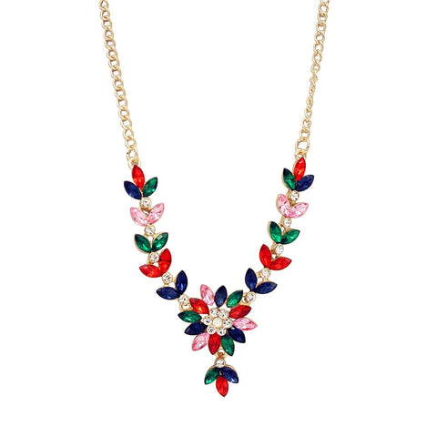 Fashion Crystal Flower Necklace