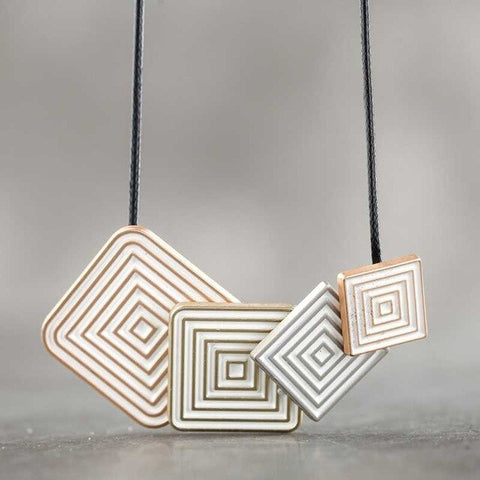 Stylish Geometric Square Pattern Necklace