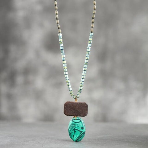 Beautiful Beaded and Suspended Stone Necklace