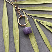 Load image into Gallery viewer, Amethyst and bronze hoop necklace by Red Door Metalworks