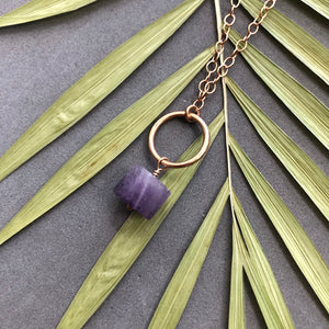 Amethyst and bronze ring pendant necklace by Red Door Metalworks