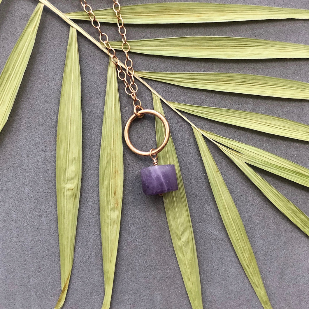 Rustic amethyst and bronze ring necklace by Red Door Metalworks