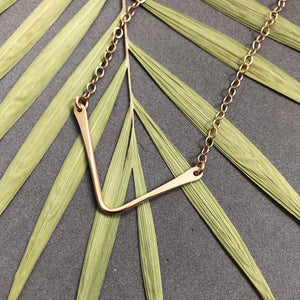 Bronze chevron necklace by Red Door Metalworks