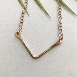 bronze wire chevron necklace by Red Door Metalworks