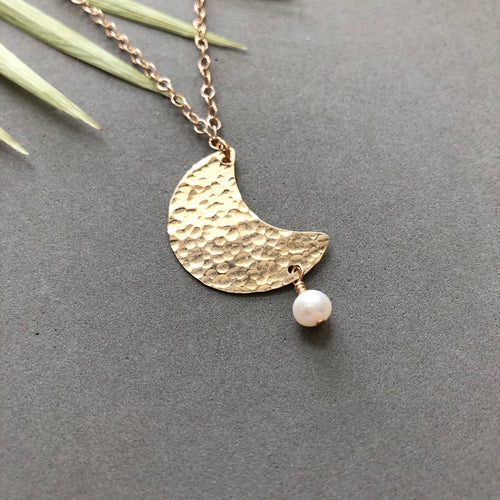 Hammered bronze moon with freshwater pearl necklace by Red Door Metalworks