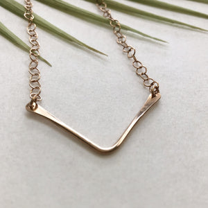 chevron bronze wire necklace by Red Door Metalworks