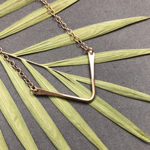 Load image into Gallery viewer, Chevron necklace in bronze by Red Door Metalworks