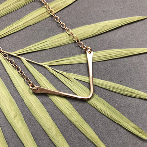 Chevron necklace in bronze by Red Door Metalworks