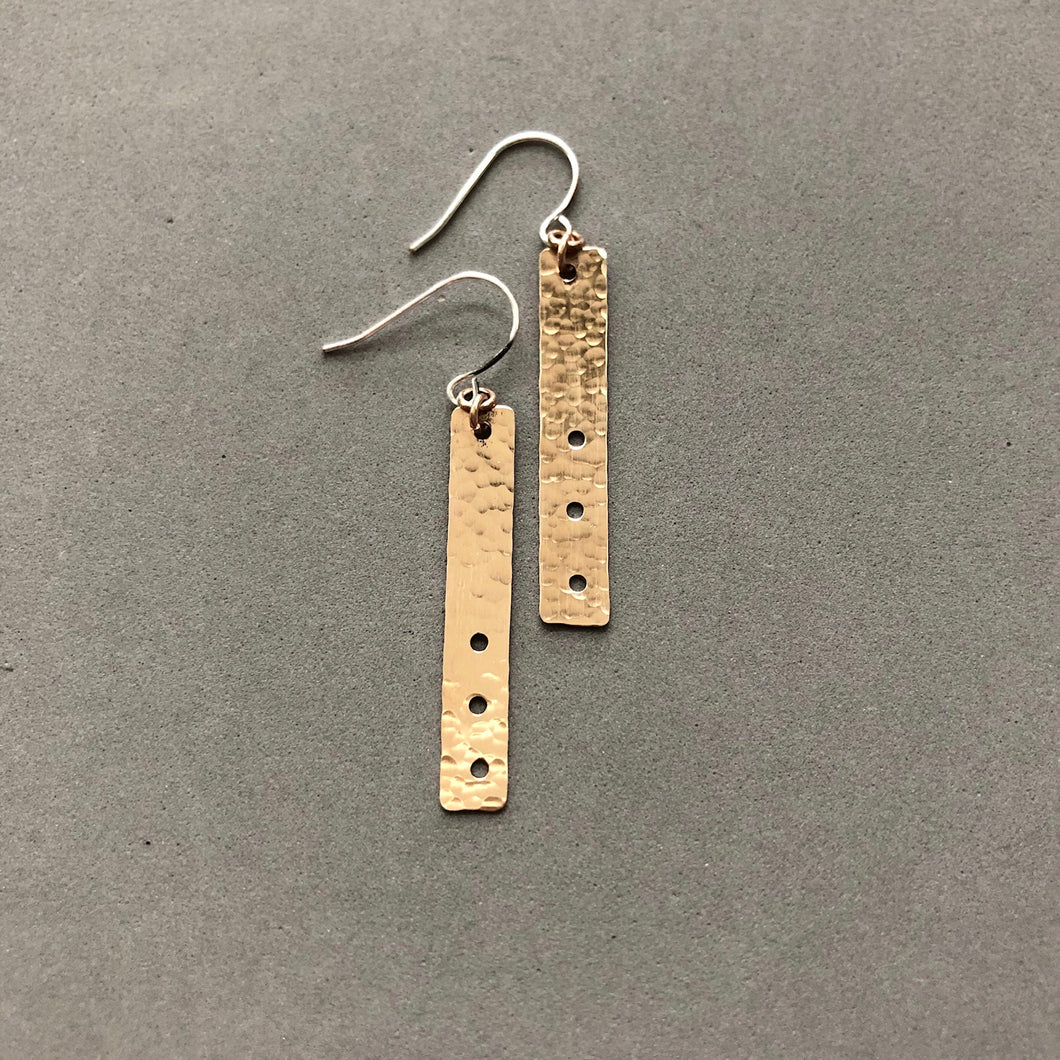 Hammered vertical bar with three holes earrings by Red Door Metalworks