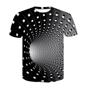3D Black And White Checked Tunnel Short Sleeve T-shirt