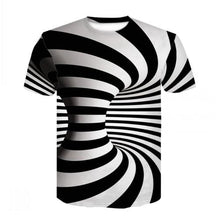 Load image into Gallery viewer, 3D Black And White Checked Tunnel Short Sleeve T-shirt