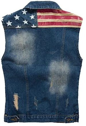 American Flag Distressed Denim Vest