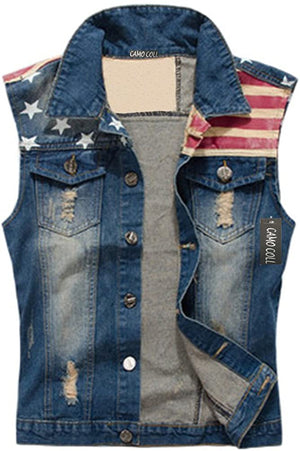 Open image in slideshow, American Flag Distressed Denim Vest
