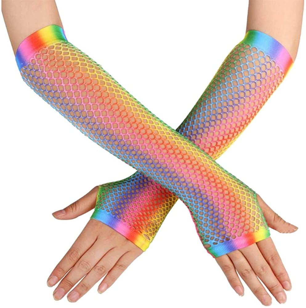 Rainbow Fingerless Fishnet Gloves