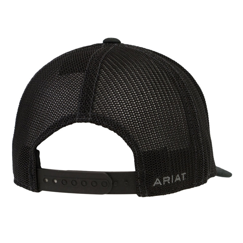 Ariat Black with Grey Logo Mesh Snap Back Cap - 1597801