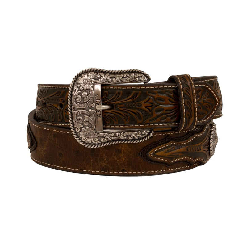 Ariat Brown Leather Belt with Silver Medallions - A1024402
