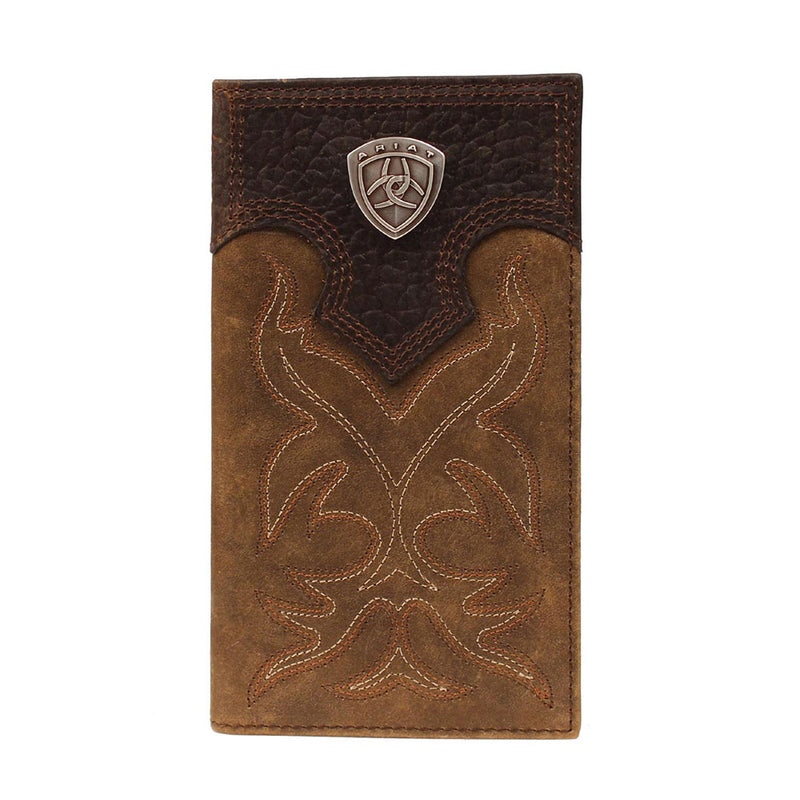 Ariat Distressed Brown Leather Checkbook / Rodeo Wallet - A3510844