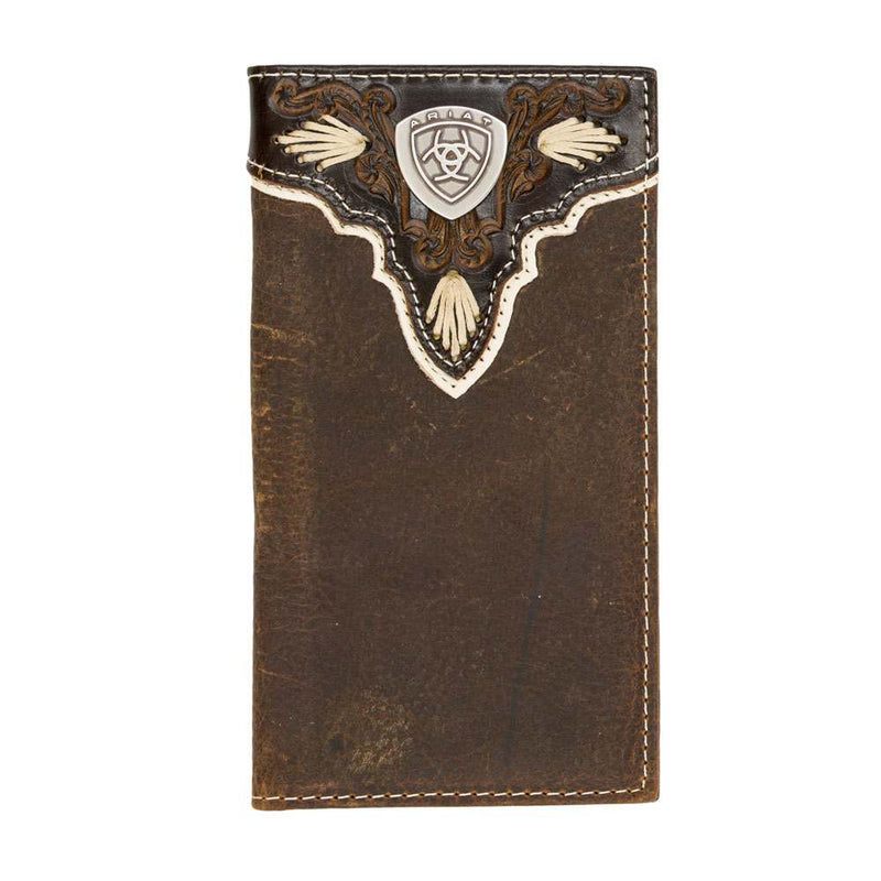 Ariat Distressed Brown Leather Checkbook / Rodeo Wallet - A3531444
