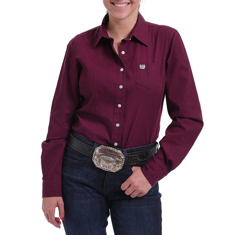 Cinch Women's Burgundy Button Down Shirt - MSW9164030-BUR