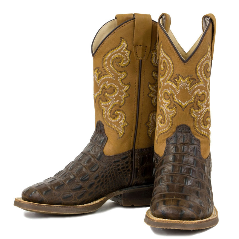 Old West Kids' Gator Stamped Boots - BSY1832-BRN