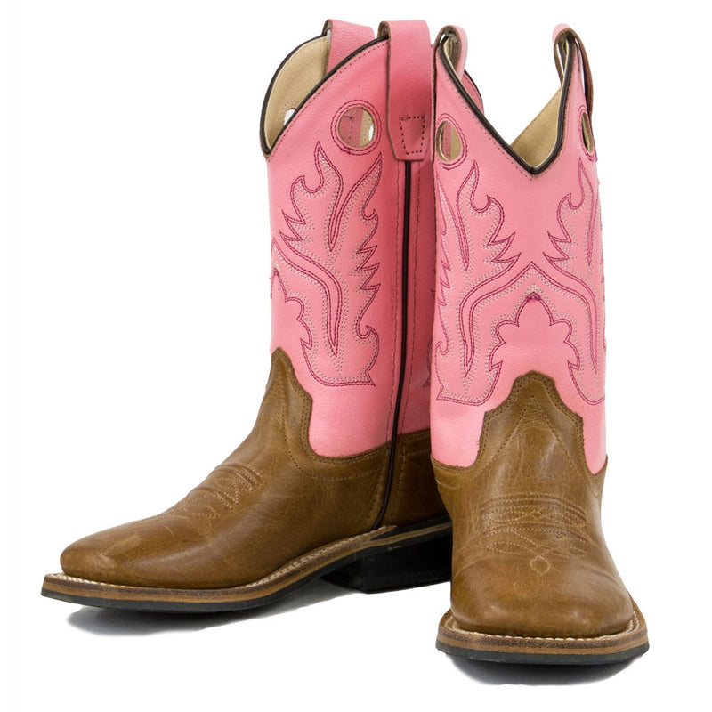 Old West Youth Sizes Girls' Boot - Pink and Tan - BSY1839G-TAN